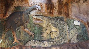 Megafauna - Giant Bas Relief - prehistoric rock scene