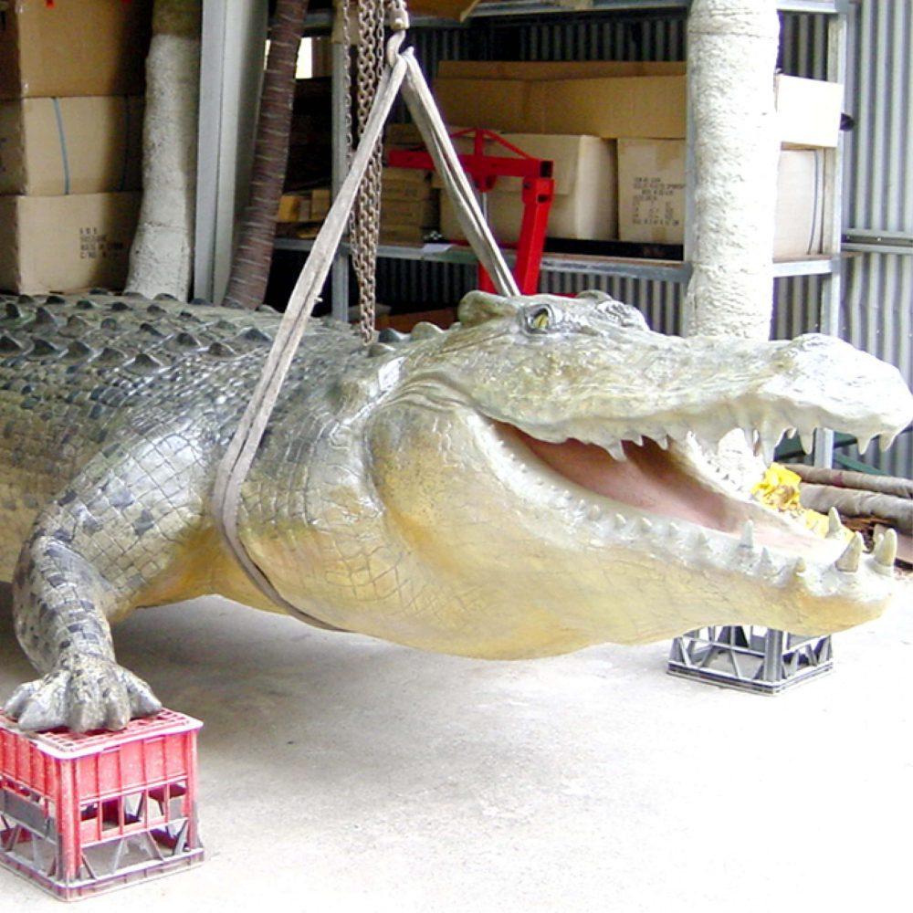 Crocodile elevatedinworkshop paintinginprogress