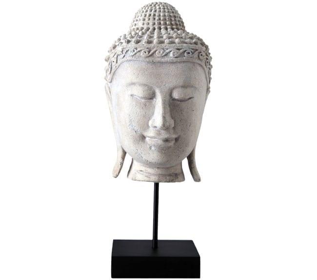 Angkor Wat Buddha Head On Base Roman Stone Finish