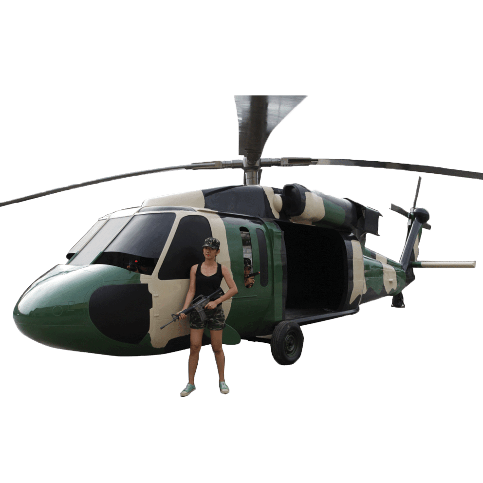 Black Hawk Helicoptor with girl