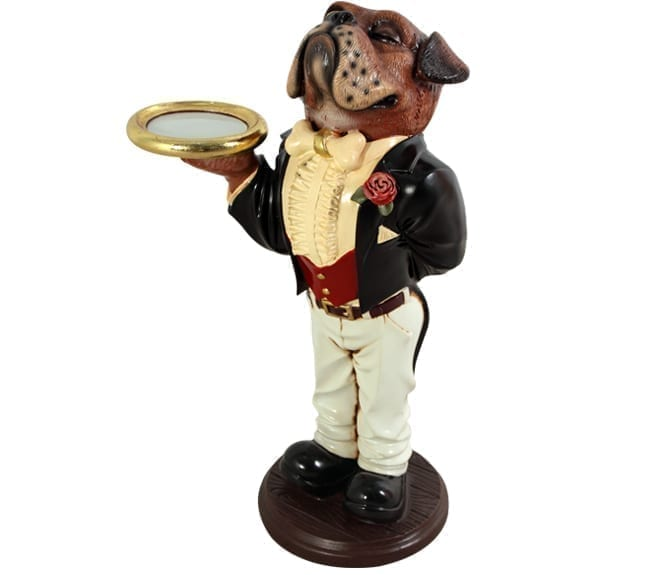 Boxer Dog Butler Statue Figurine Holding Tray