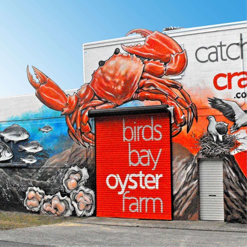 Catch a Crab mural and signage