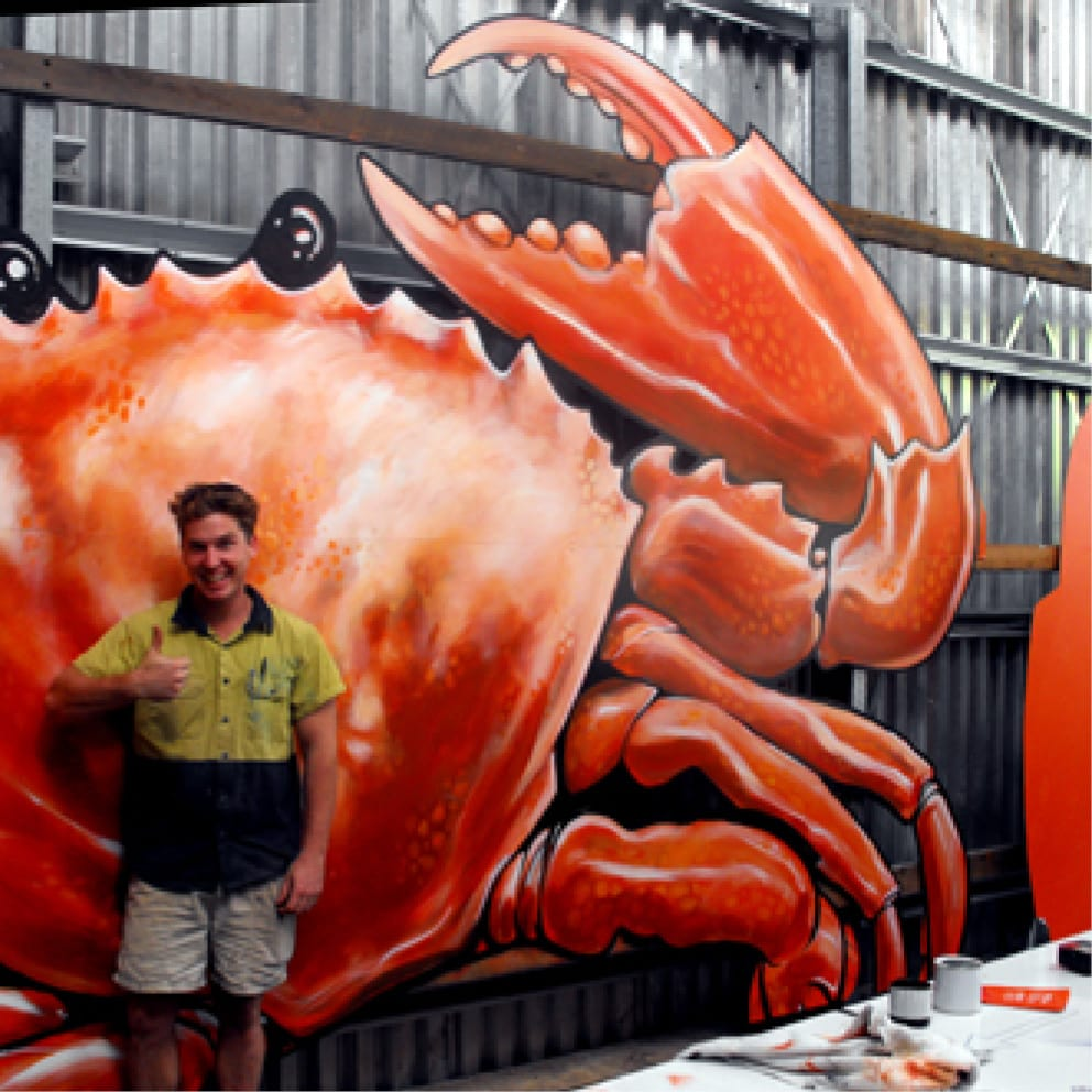 Catch a Crab mural with luke