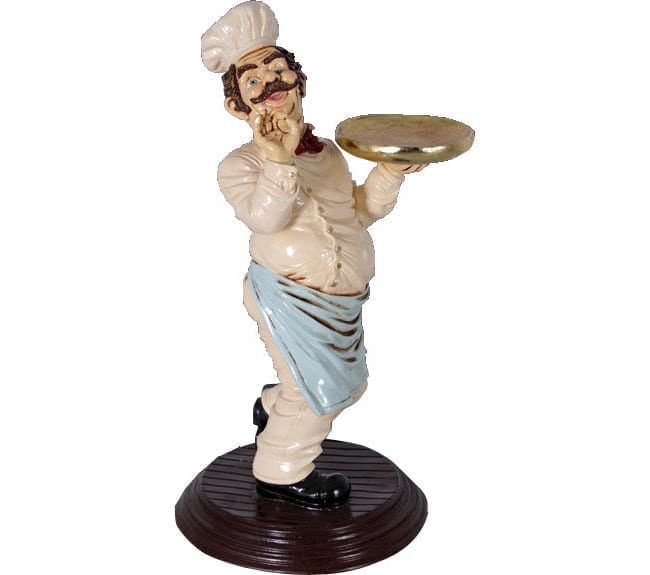 Chef Figurine With Tray ft
