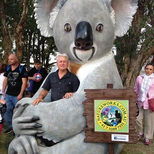 David with giant koala