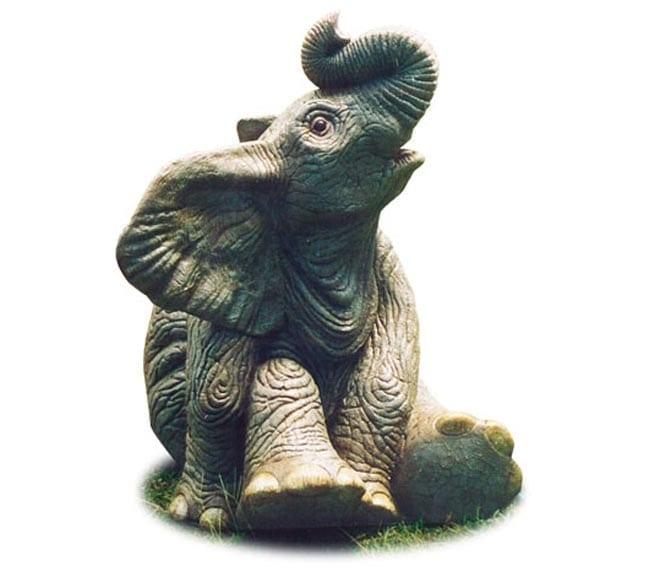 Fibreglass African Elephant Calf Statue Sitting