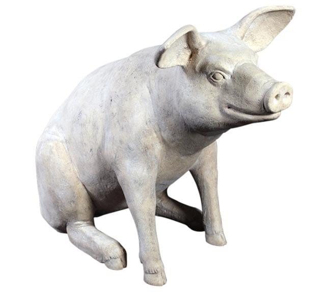 Fibreglass Animal lifesize pig sitting romanstone