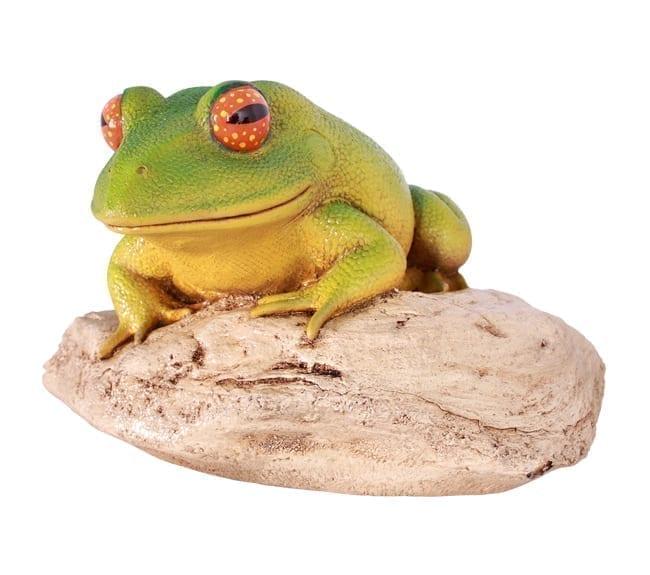 Fibreglass Frog On Rock Sculpture