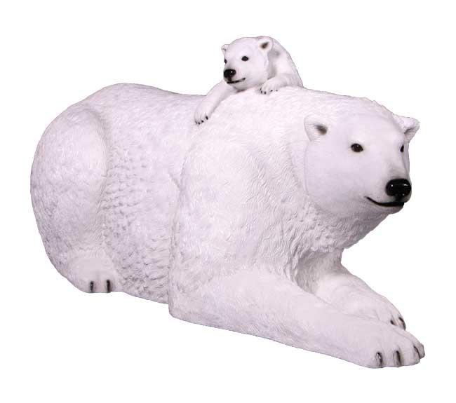 Fibreglass Polar Bear With Cub