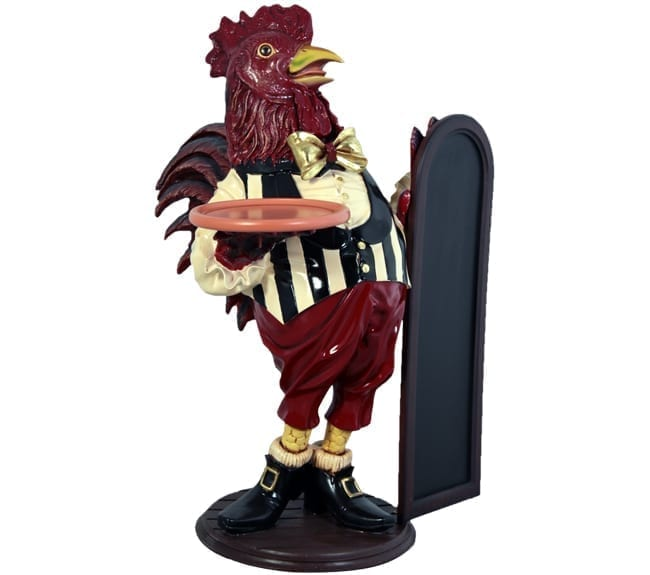 Fibreglass Rooster Butler Statue with Tray