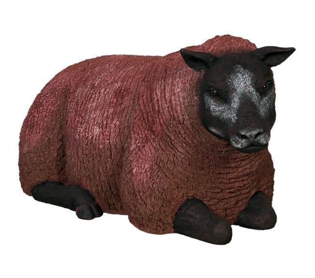 Fibreglass Sheep Statue Texelaar Ewe Lying Brown BR