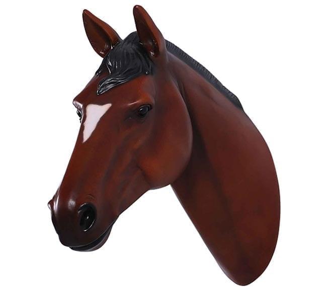 Fibreglass Stallion Horse Head Chestnut Indoor Wall Decor