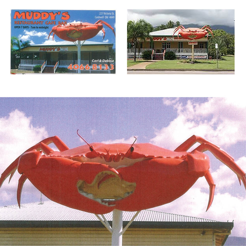 Giant Crab On Post Cardwell Muddys Restaurant cafe in situ