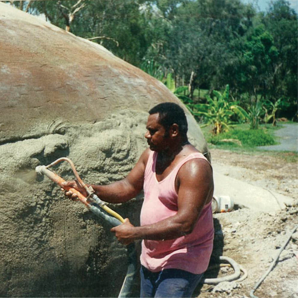 Giant Dugong Dreamtime Cultural Centre Adding Cement