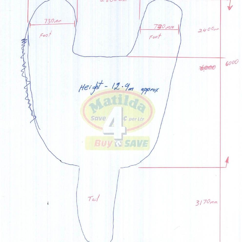 Giant Matilda the Kangaroo Foot print measurements of Matilda