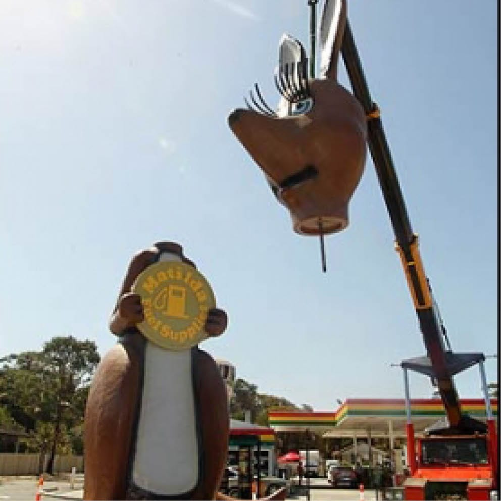 Giant Matilda the Kangaroo Head being installed by crane
