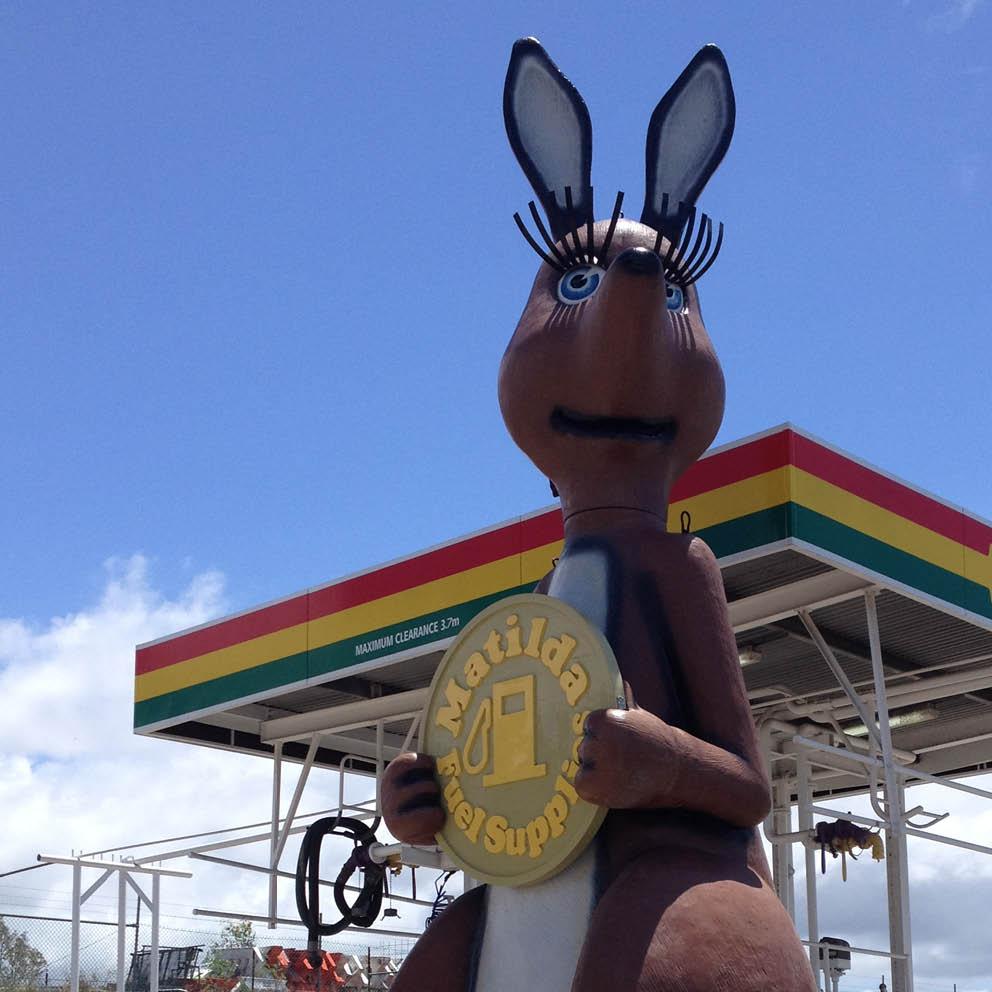 Giant Matilda the Kangaroo Head close up at petrol station
