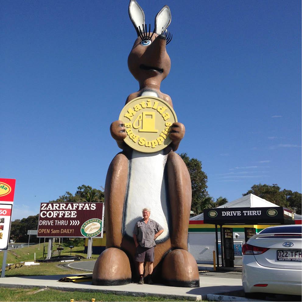 Giant Matilda the Kangaroo Iconic Matilda Petrol Station with David Joffe