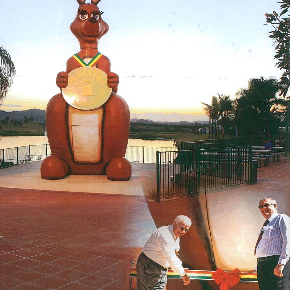 Giant Matilda the Kangaroo Unveiling cutting the ribbon
