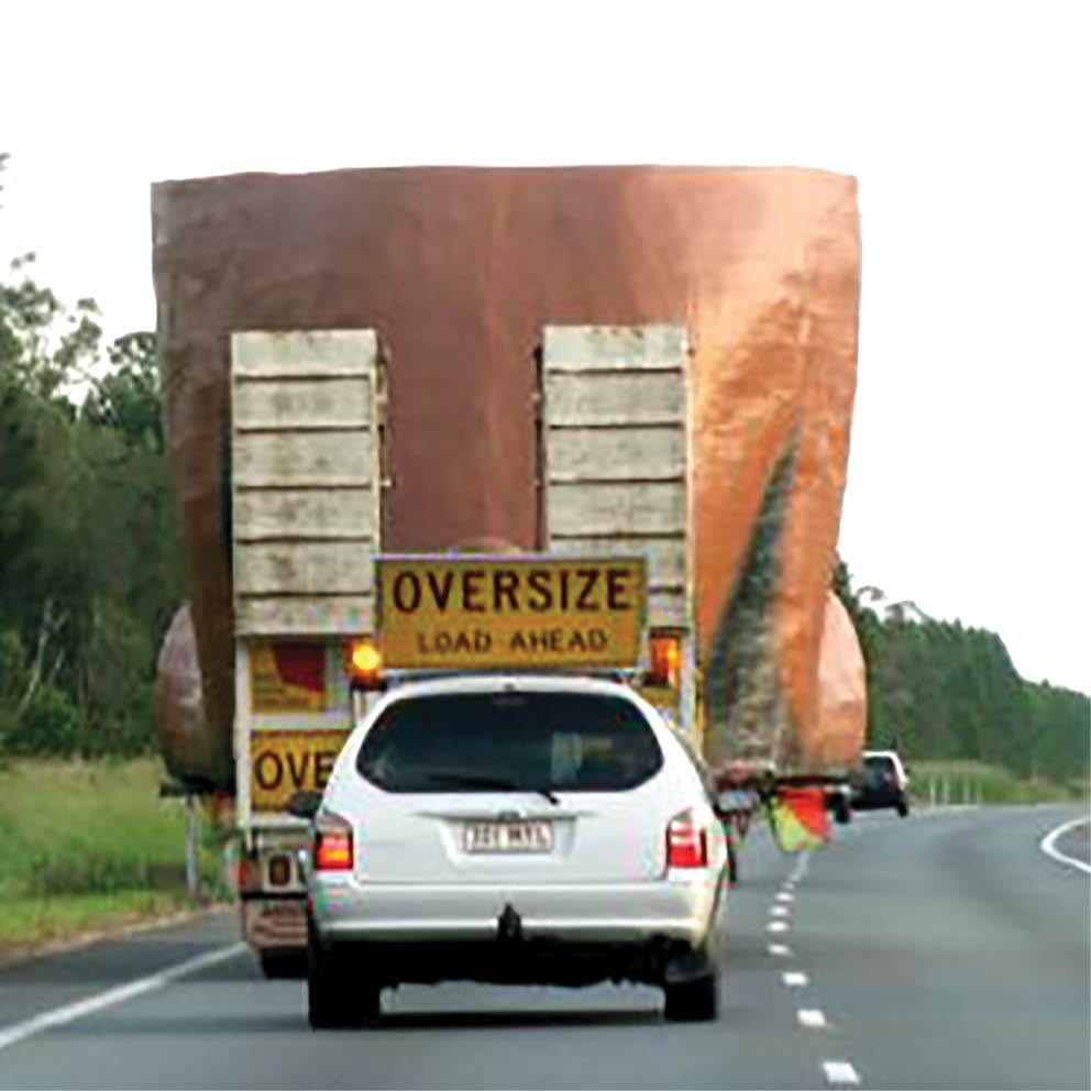 Giant Matilda the Kangaroo rear view delivery on truck