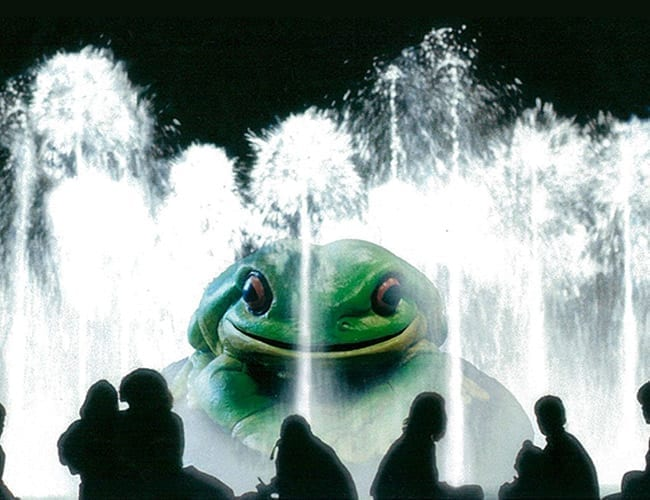 Giant Green Frog In Water Fountain