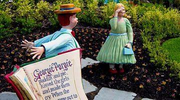 Hunter Valley Gardens Gorgie Porgie statues and story book Copy