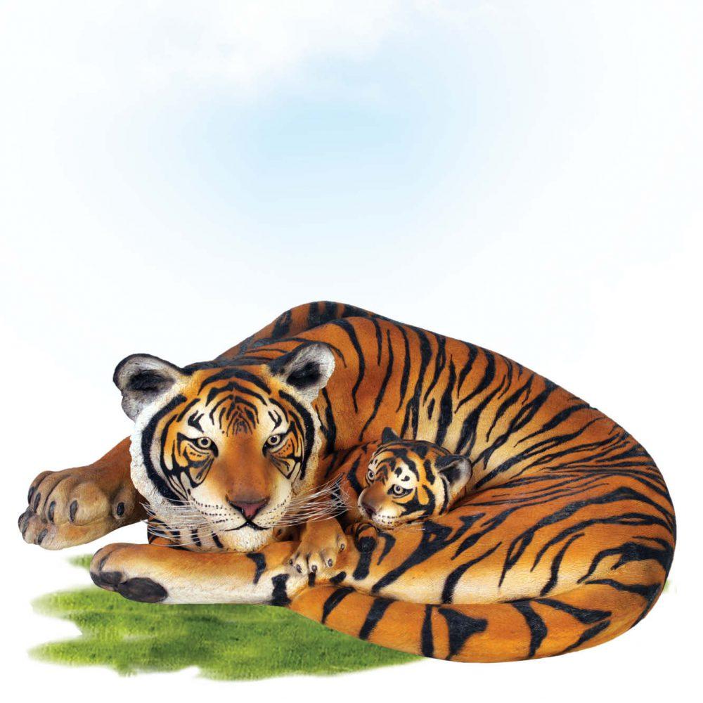 Bengal Tigress Resting With Cub. Tiger Statue