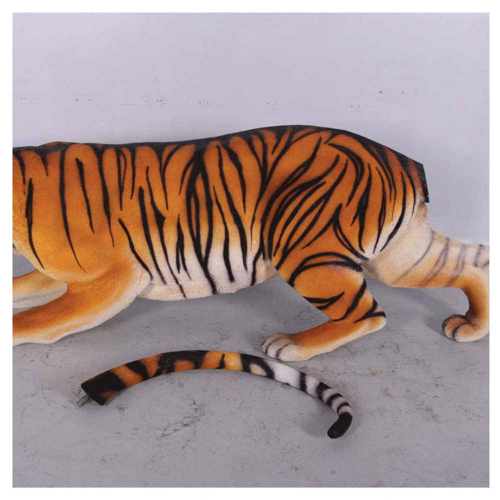 Bengal Tiger Crouching Statue - showing tail removed