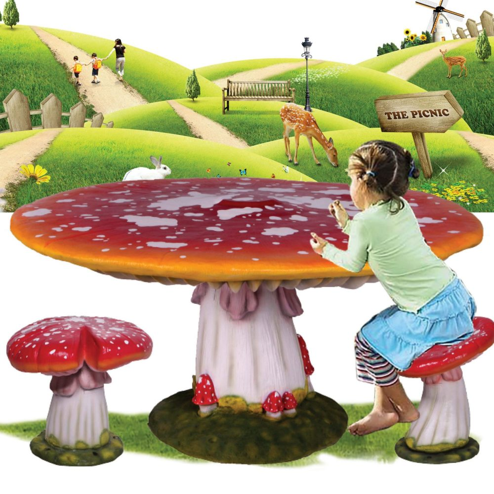 Mushroom Table and Chair setting - durable and light weight