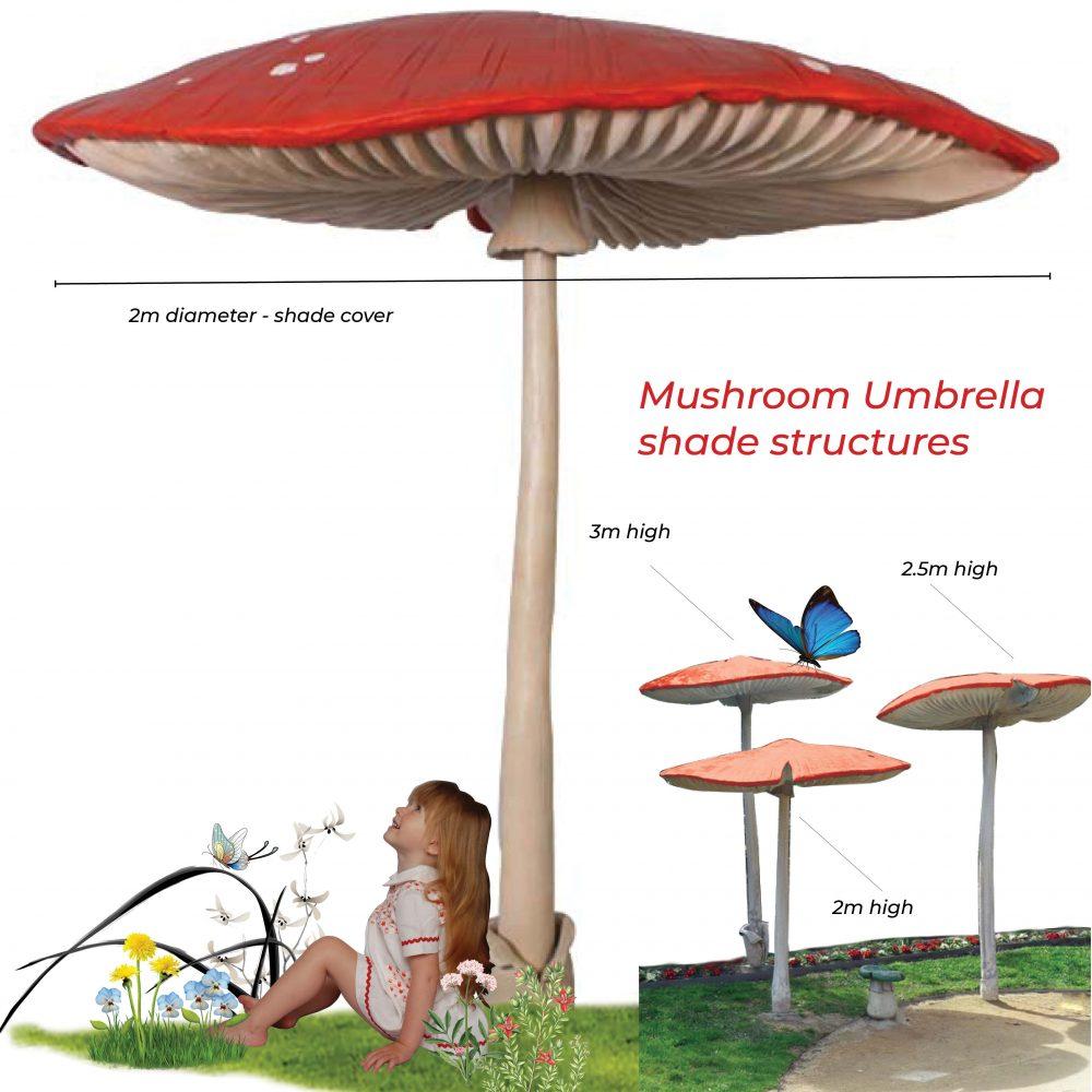 Mushroom umbrella 3m high – Larger than life-size beautiful hand-painted 3m high mushroom – freestanding – ideal for fairy gardens