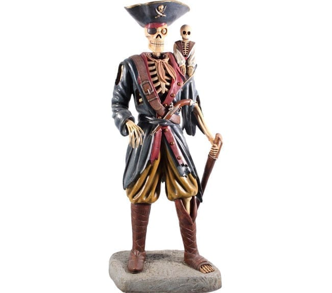Pirate Skeleton Statue with Monkey ft