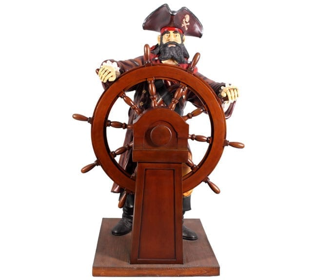 Pirate Statue with Wheel ft