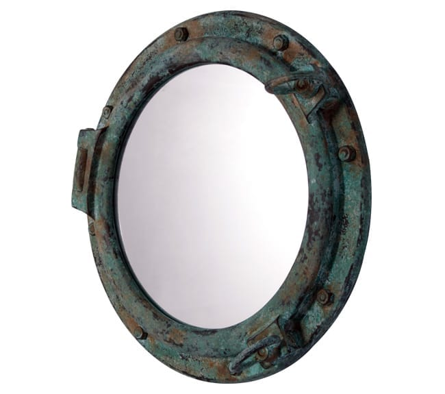 Porthole With Mirror  in greens bronze
