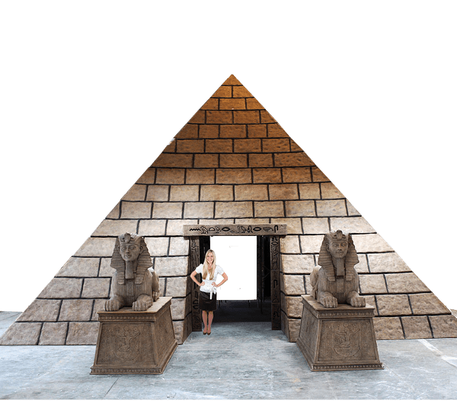 Pyramid m base with girl and sphinx