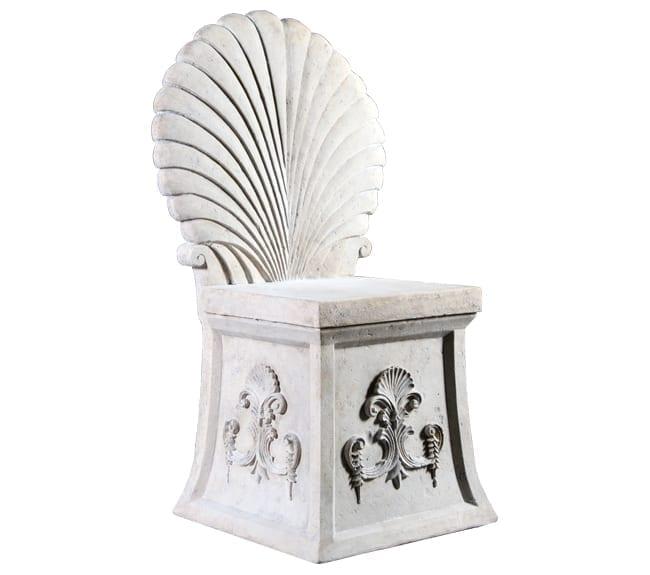 Roman Stone Emperor Shell Throne Stool