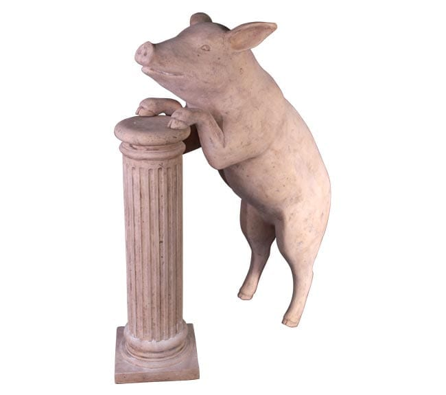 Roman Stone Farm Animal Curious Pig Statue