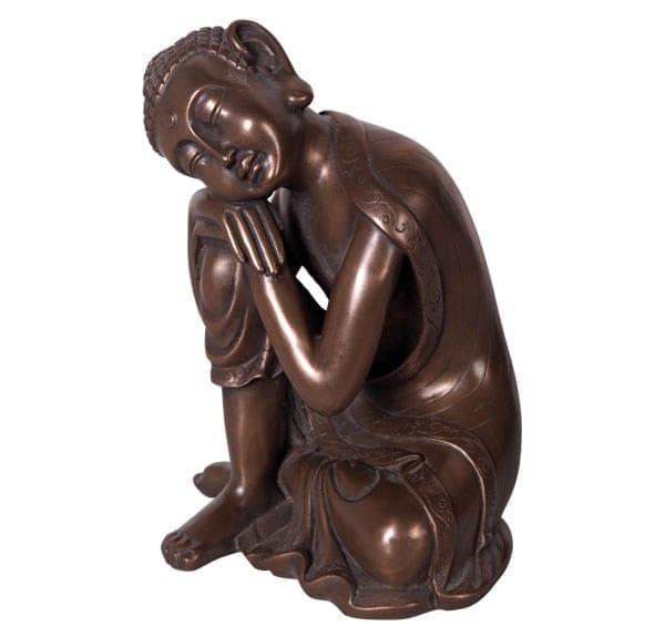 Sleeping buddha Sculpture in Bronze Color