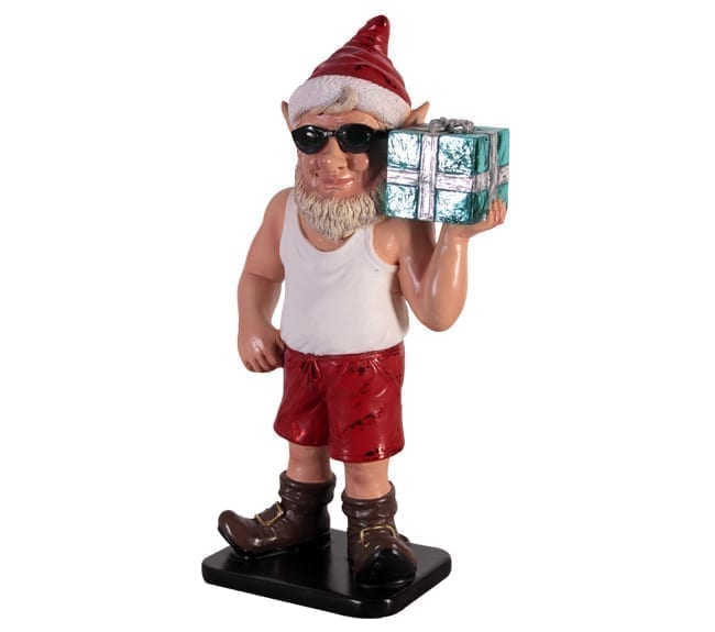 Sunny Elf With Gift Christmas Statue