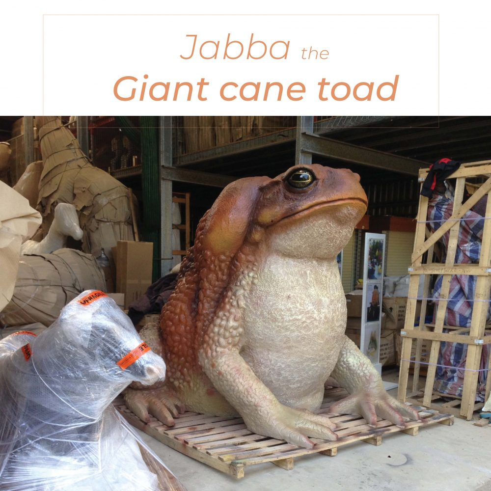 Giant Toad 2 metre High Custom Sculpture in warehouse