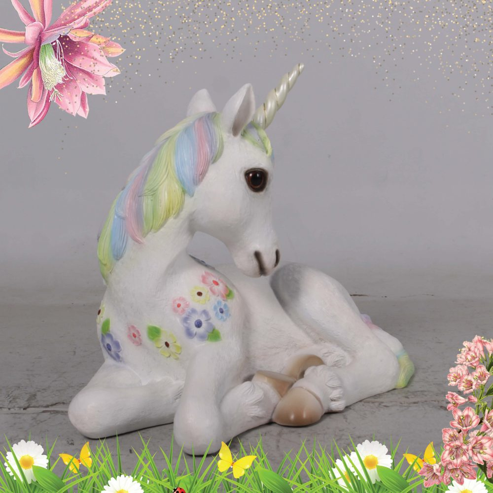 Unicorn foal resting - statue - rainbow colour