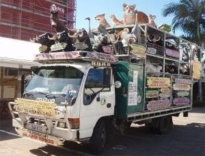 Truck delivering natureworks animals