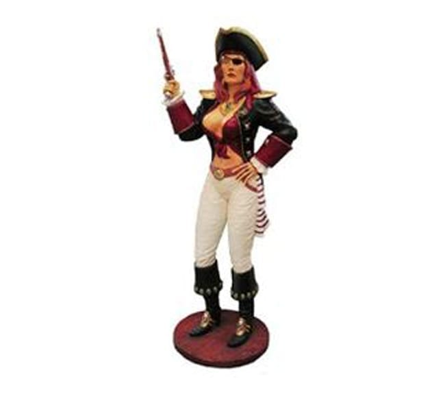 lady Pirate Statue with gun