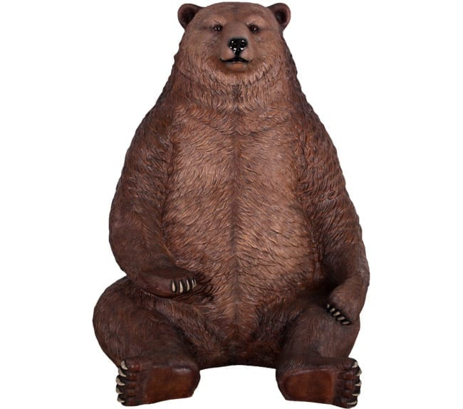 lifeSize Grizzly Bear Statue Sitting