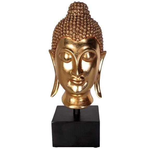 sukothai buddha head Sculpture in Gold Leaf