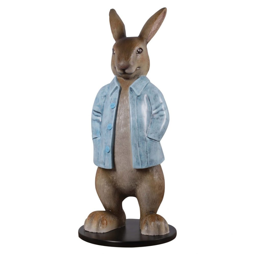 Rabbit statue with a blue coat