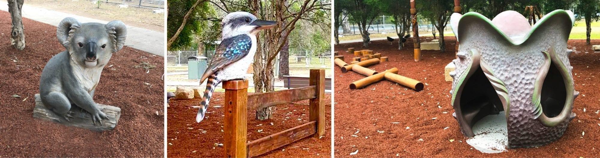 Animal sculptures at Jimboomba Park