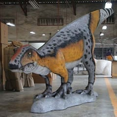Rosewood Raptor Dinosaur Standing Angle View in Shed