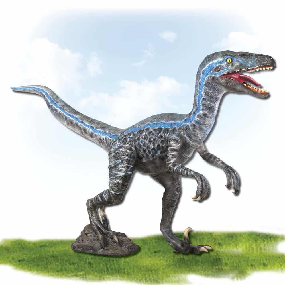 Velociraptor - Blue - Standing - life-size statue photo