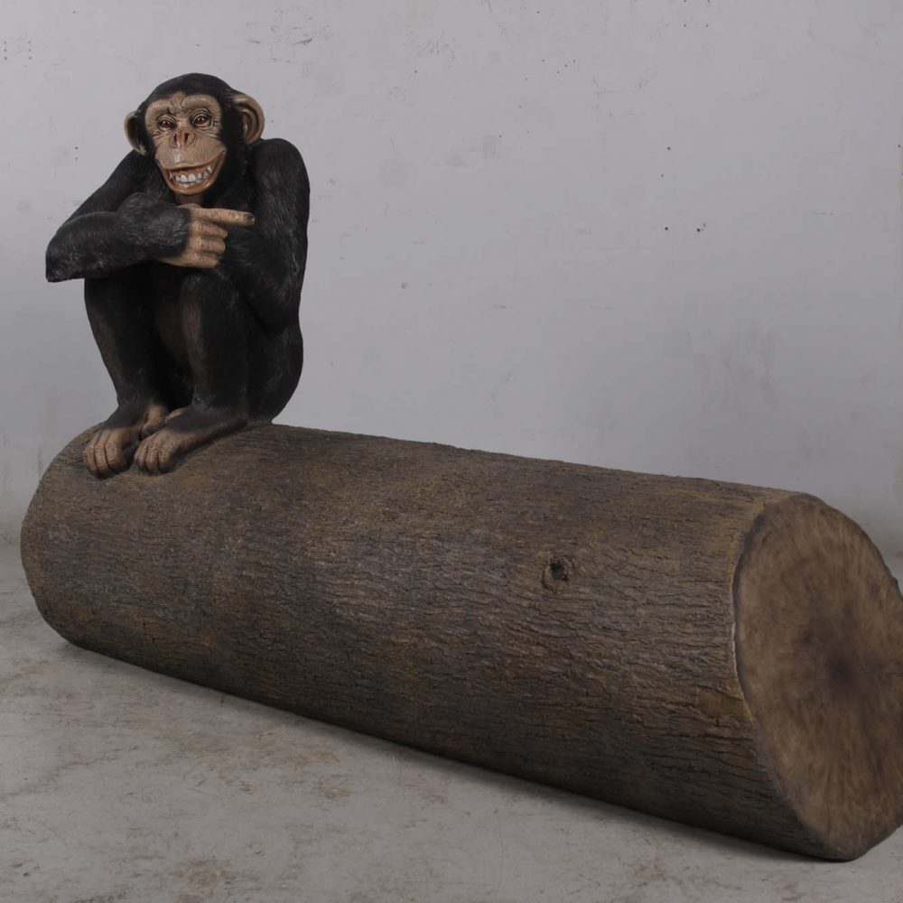 Chimp on Tree Trunk Seat - fun sculpture