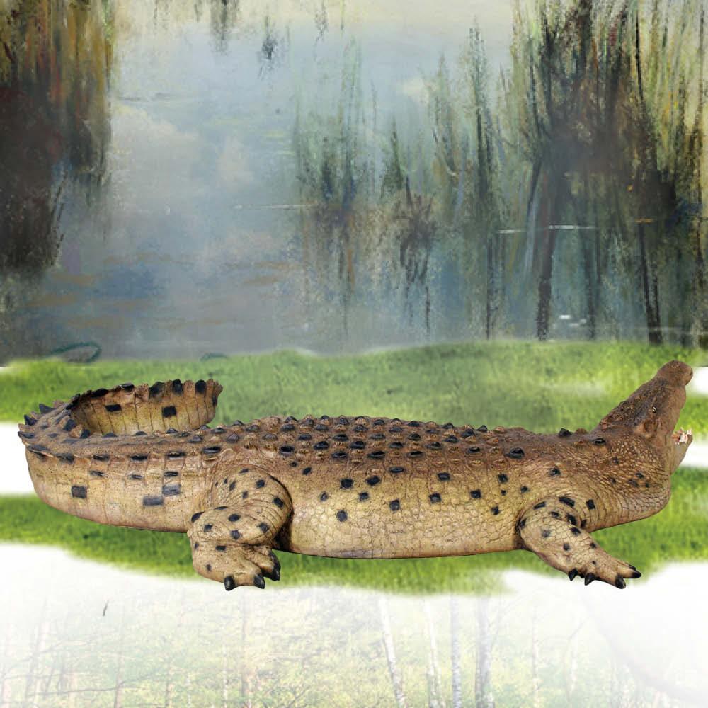 Crocodile 12ft- Mouth open - statue